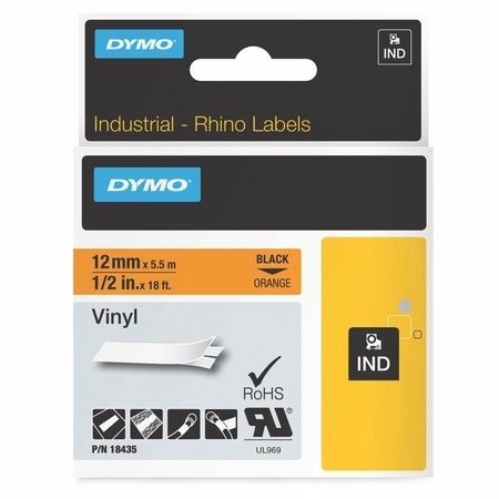 Páska Dymo 18435 oranžová/černý tisk, 12 mm, vinylová
