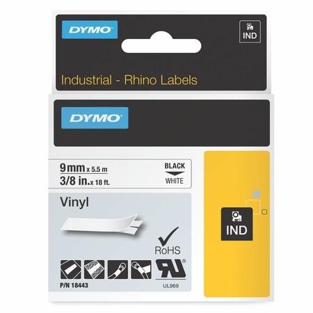 Páska Dymo 18443 bílá/černý tisk, 9 mm, vinylová