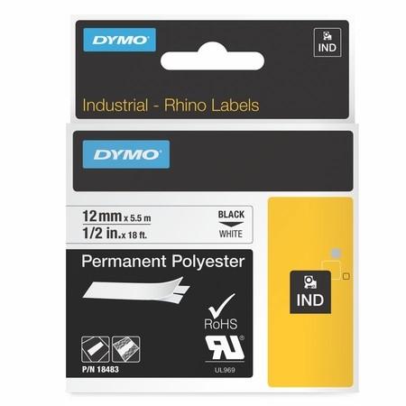 Páska Dymo 18483 bílá/černý tisk, 12 mm, silné lepidlo