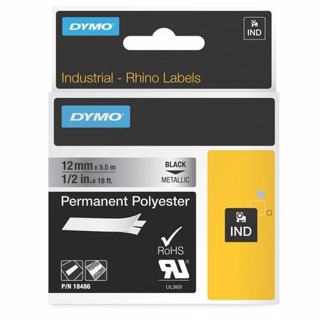 Páska Dymo 18486 stříbrná/černý tisk, 12 mm, silné lepidlo