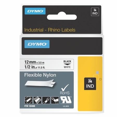 Páska Dymo 18488 bílá/černý tisk, 12 mm, flexibilní nylonová