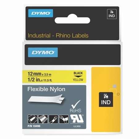 Páska Dymo 18490 žlutá/černý tisk, 12 mm, flexibilní nylonová