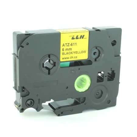 Páska ATZ-611 žlutá/černý tisk, 6 mm