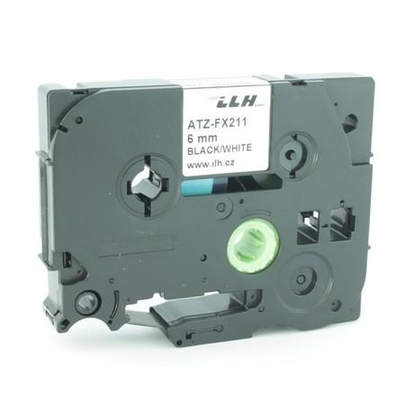 Páska ATZ-FX211 bílá/černý tisk, 6 mm, flexibilní