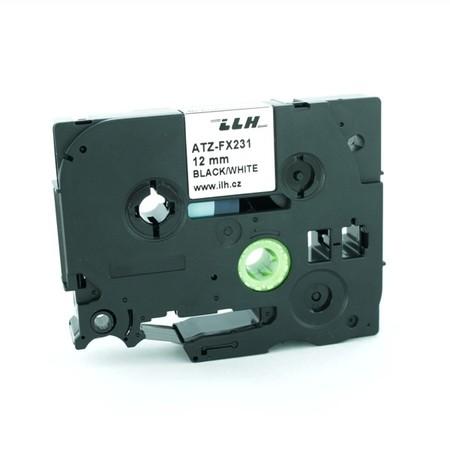 Páska ATZ-FX231 bílá/černý tisk, 12 mm, flexibilní