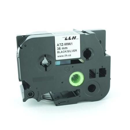 Páska ATZ-M961 stříbrná/černý tisk, 36 mm