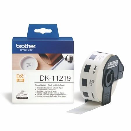 Papírové štítky Brother DK11219 kulaté, průměr 12 mm, 1200 ks