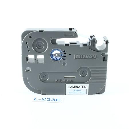 Páska Supvan L-233E bílá/modrý tisk, 12 mm