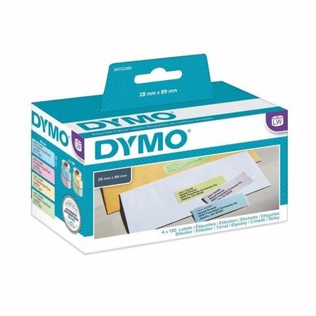 Papírové štítky Dymo S0722380, 89x28 mm, mix barev, 4x130 ks