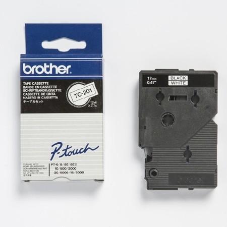 Páska TC-201 bílá/černý tisk, 12 mm x 7,7 m