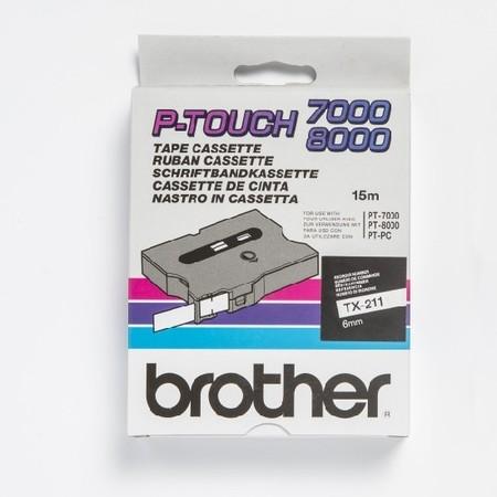 Páska TX-211 bílá/černý tisk, 6 mm x 15 m