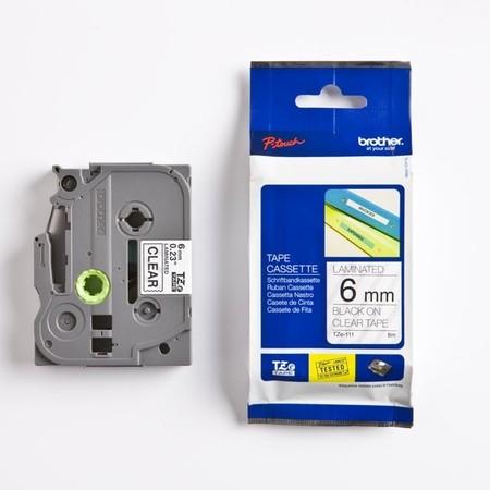 Páska Brother TZE-111 průhledná/černý tisk, 6 mm