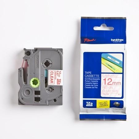 Páska Brother TZE-132 průhledná/červený tisk, 12 mm