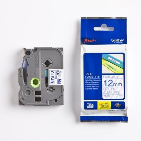Páska Brother TZE-133 průhledná/modrý tisk, 12 mm