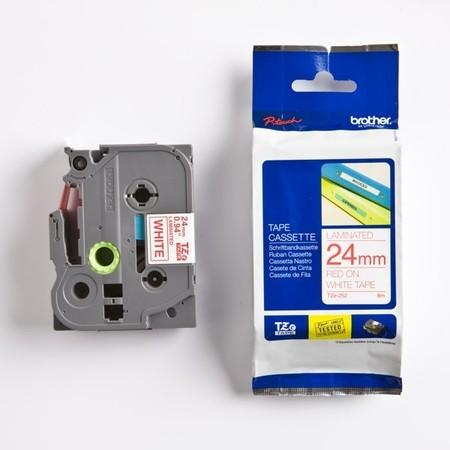 Páska Brother TZE-252 bílá/červený tisk, 24 mm