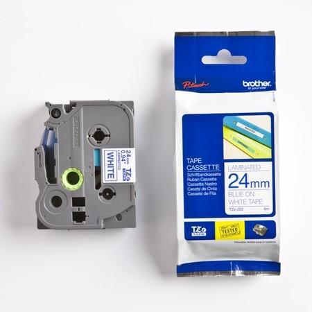 Páska Brother TZE-253 bílá/modrý tisk, 24 mm