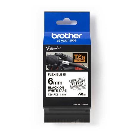 Páska Brother TZE-FX211 bílá/černý tisk, 6 mm, flexibilní