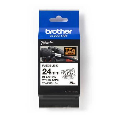 Páska Brother TZE-FX251 bílá/černý tisk, 24 mm, flexibilní