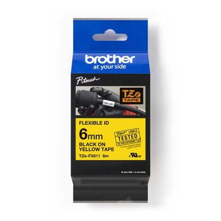 Páska Brother TZE-FX611 žlutá/černý tisk, 6 mm, flexibilní