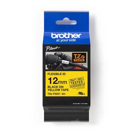 Páska Brother TZE-FX631 žlutá/černý tisk, 12 mm, flexibilní