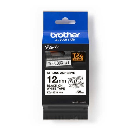 Páska Brother TZE-S231 bílá/černý tisk, 12 mm, silné lepidlo