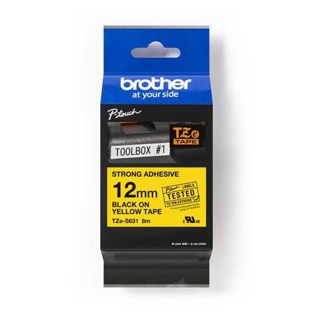 Páska Brother TZE-S631 žlutá/černý tisk, 12 mm, silné lepidlo