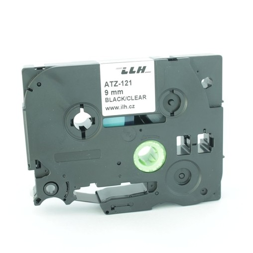 Páska ATZ-121 průhledná/černý tisk, 9 mm