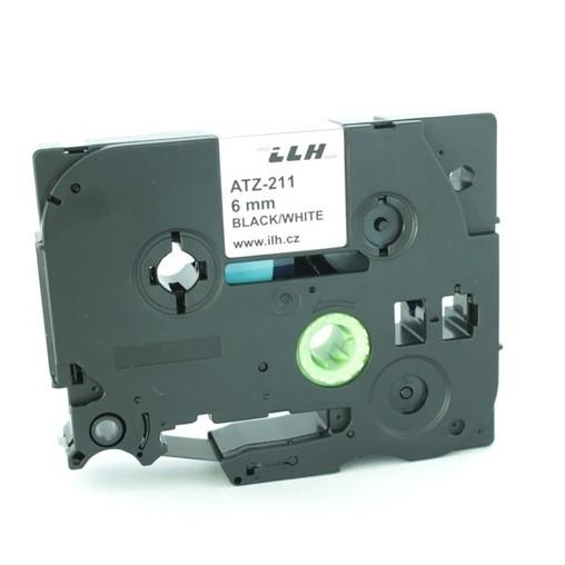 Páska ATZ-211 bílá/černý tisk, 6 mm