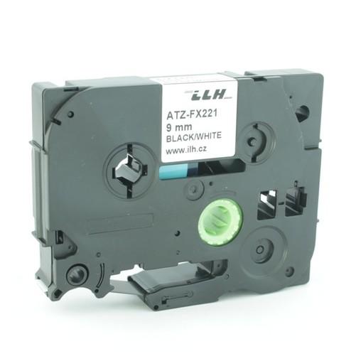 Páska ATZ-FX221 bílá/černý tisk, 9 mm, flexibilní